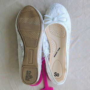 SO Shoes - SO Lacy White Ballet Flats 6 (NWT)